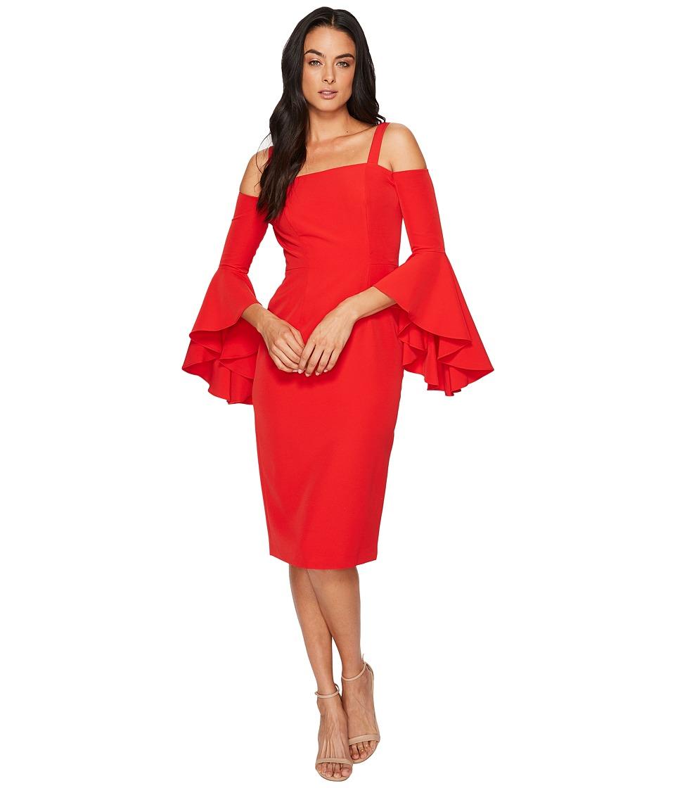 Maggy London Dream Crepe Cold Shoulder Sheath Dress w/ Cascade Sleeve (Rose Trelis) Women