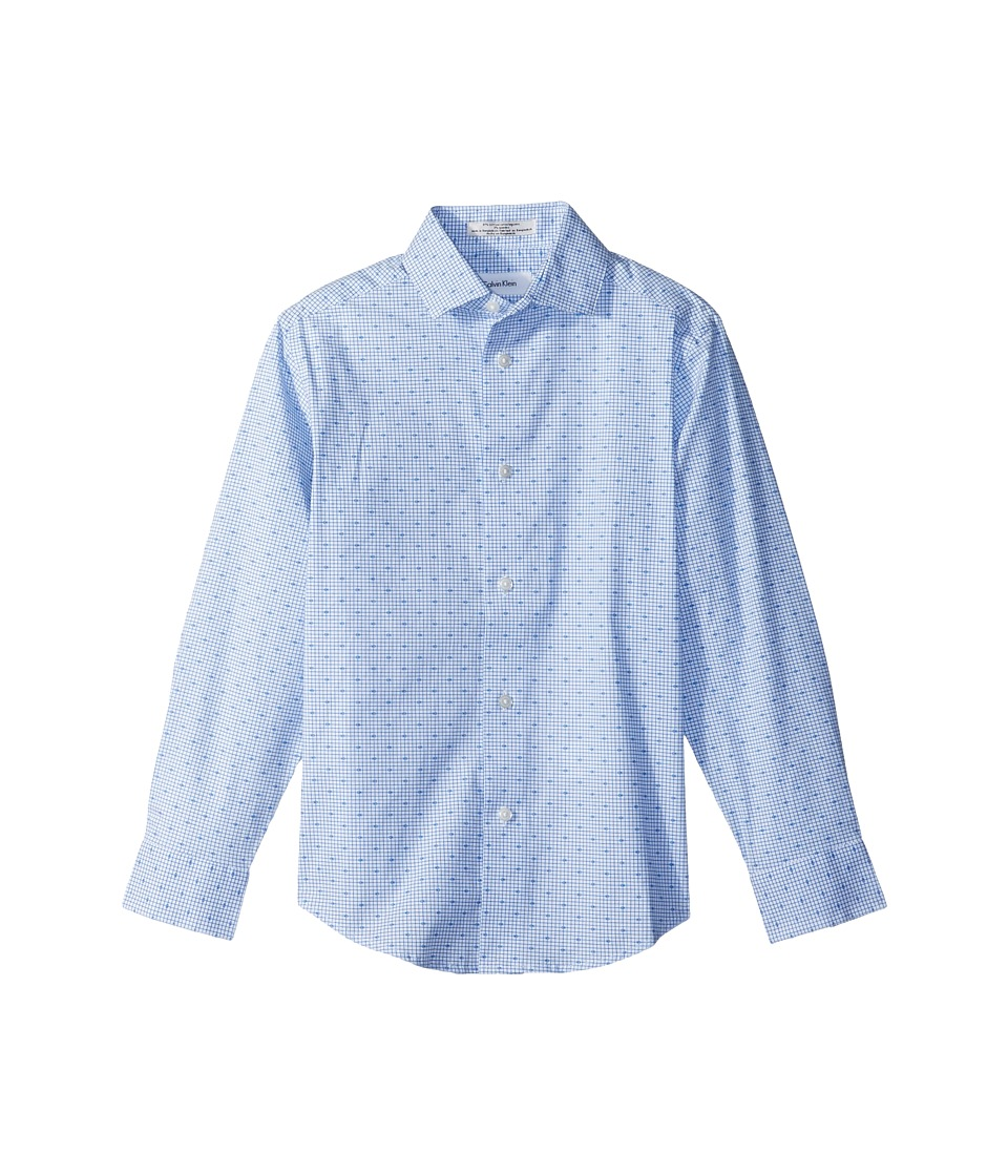 Calvin Klein Kids - Check Print Long Sleeve Shirt (Big Kids) (Academy Blue) Boys Clothing