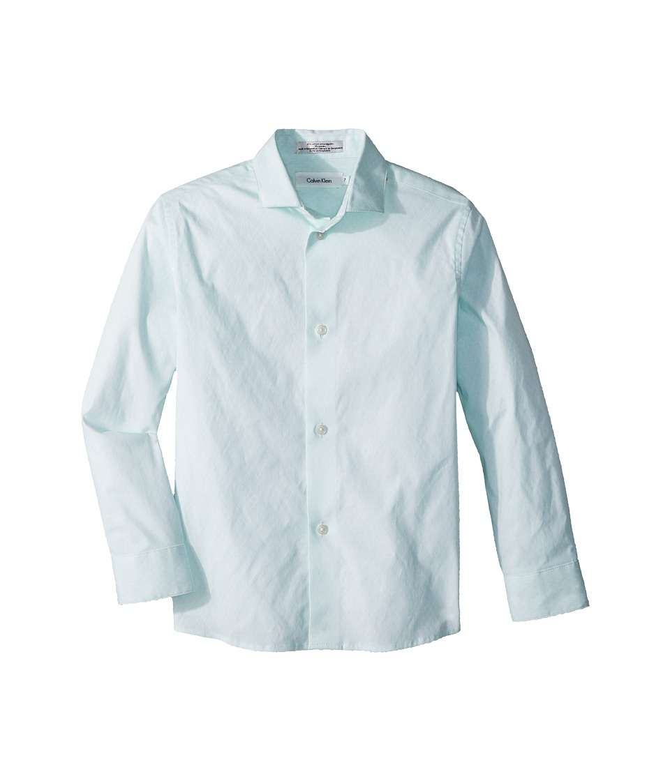 Calvin Klein Kids - Hexagon Dot Print Long Sleeve Shirt (Little Kids) (Torch Lake) Boys Clothing