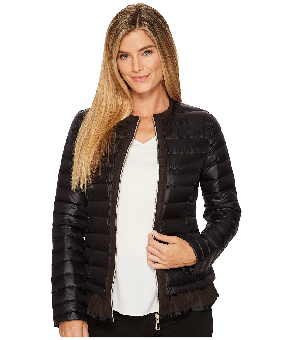 Ivanka Trump Flutter Hem Packable Jacket (Black) Women
