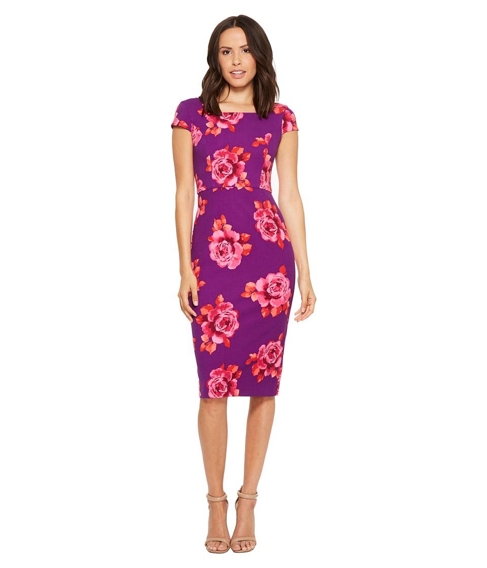 Donna Morgan Cap Sleeve Ed Printed Crepe Sheath Dress Purple Red Multi Women S