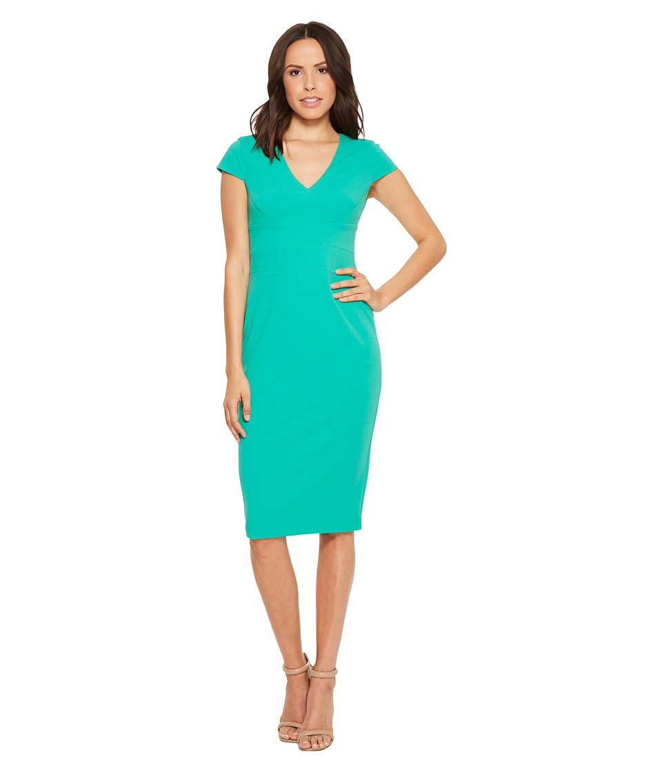 Donna Morgan - Cap Sleeve Fitted Stretch Crepe Sheath Dress (Fresh Green) Womens Dress