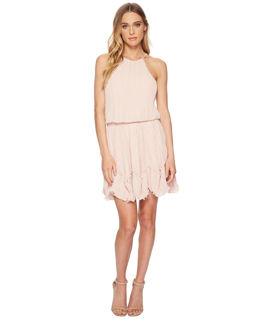 Halston Heritage - Sleeveless Round Neck Dress w/ Pleated Flounce (Bloom) Womens Dress