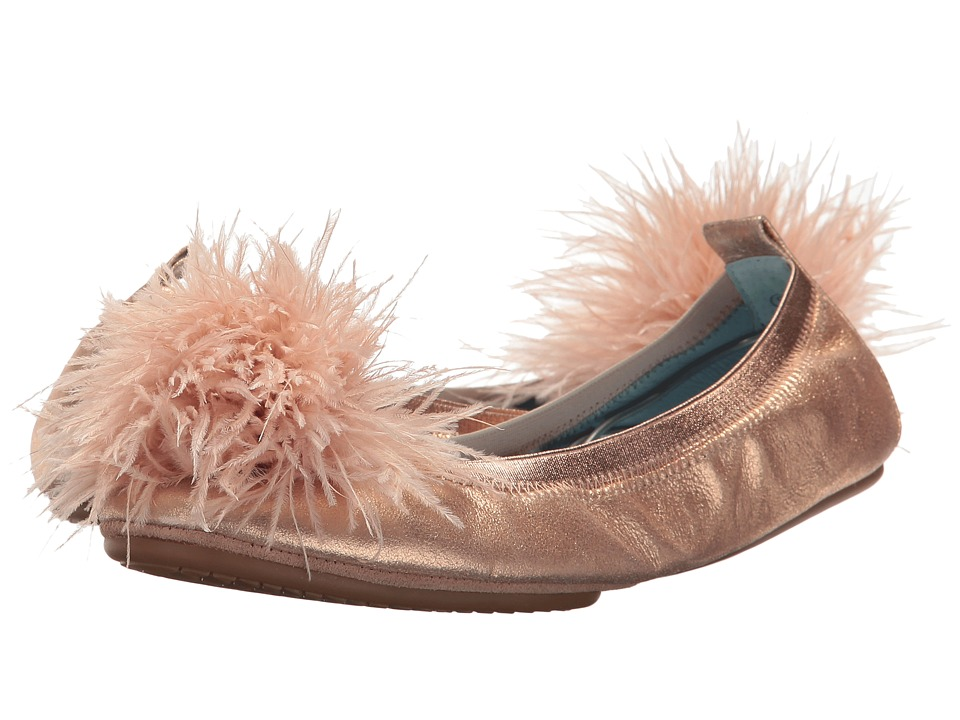 Yosi Samra Marry Me Marabou (Rose Gold Leather/Pom) Flats
