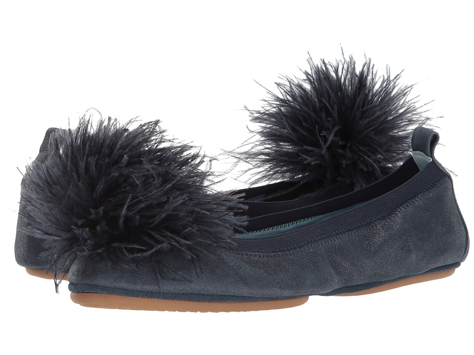 Yosi Samra Marry Me Marabou (Sapphire Leather/Pom) Flats