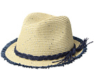 San Diego Hat Company Kids Paperbraid Fedora w/ Color Pop Fray Edge (Little Kids/Big Kids)