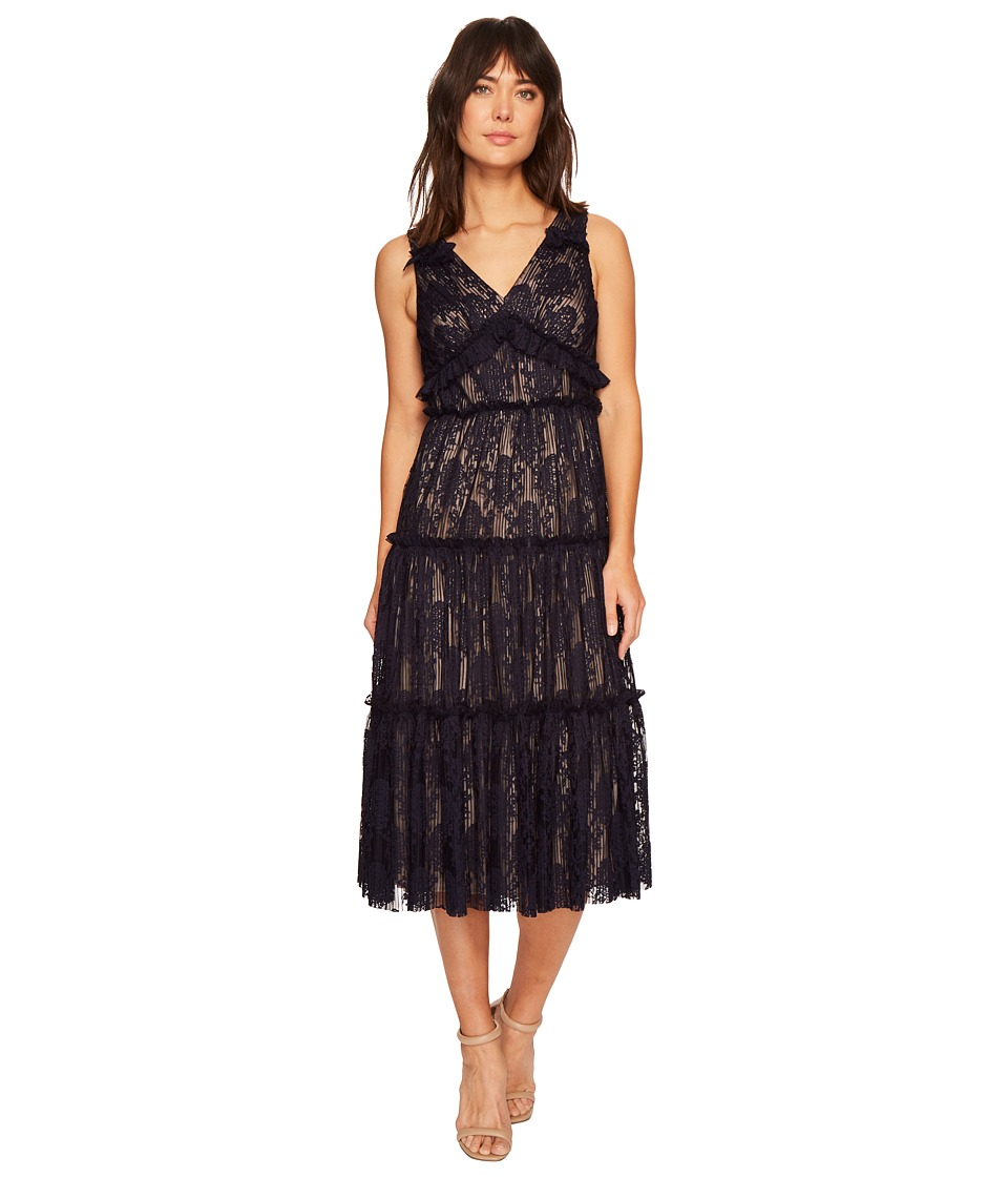 Maggy London - Pleat Medallion Lace Tiered Cocktail Dress (Galaxy Blue) Womens Dress