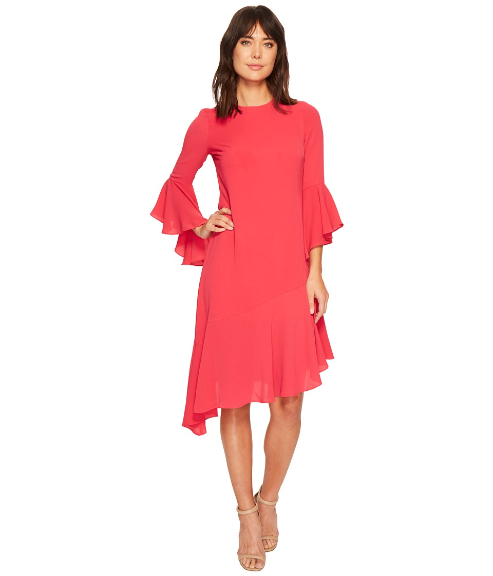 Maggy London - Catalina Crepe Ruffle Dress (Dahlia) Womens Dress