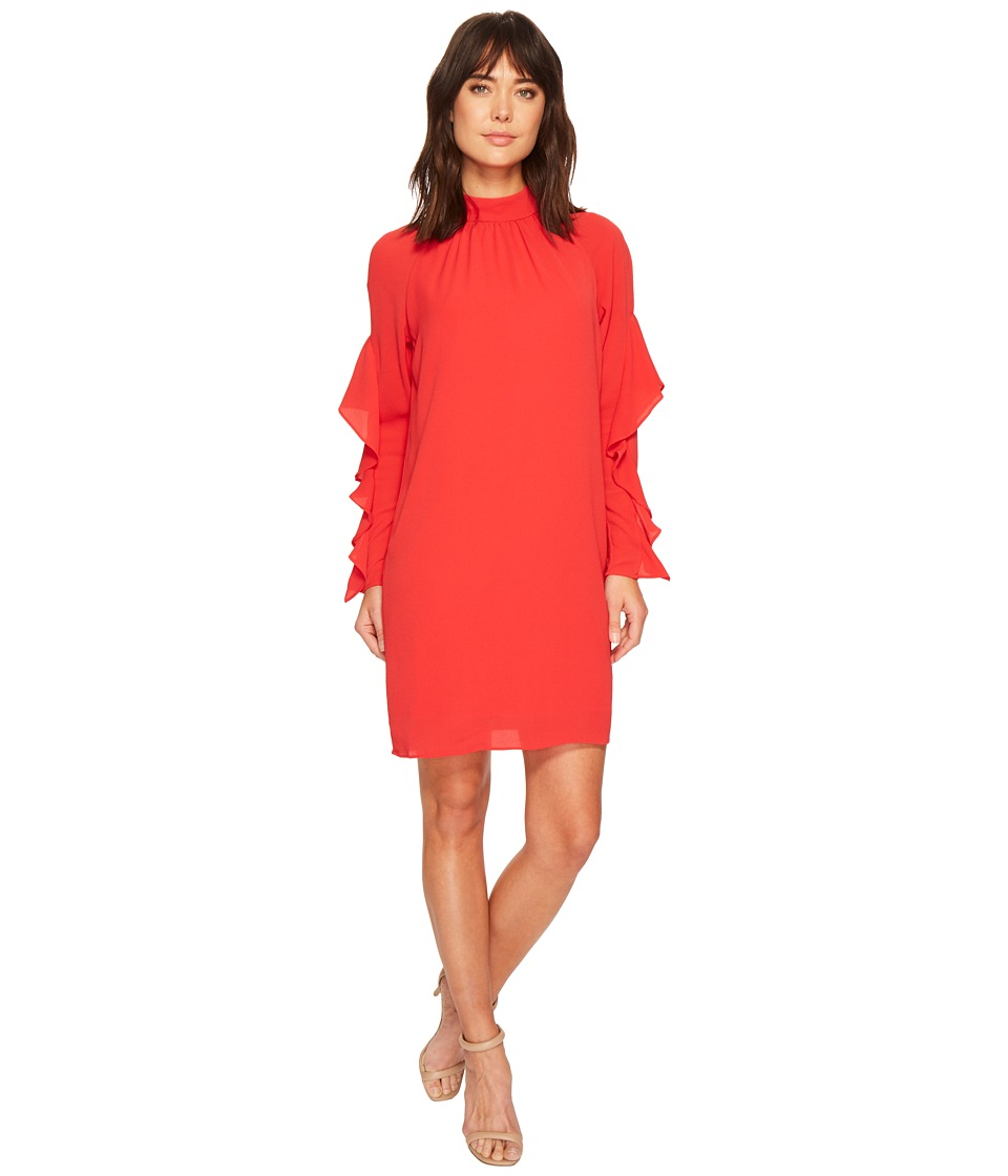 Maggy London - Catalina Crepe Ruffle Dress (Pomegranate) Womens Dress