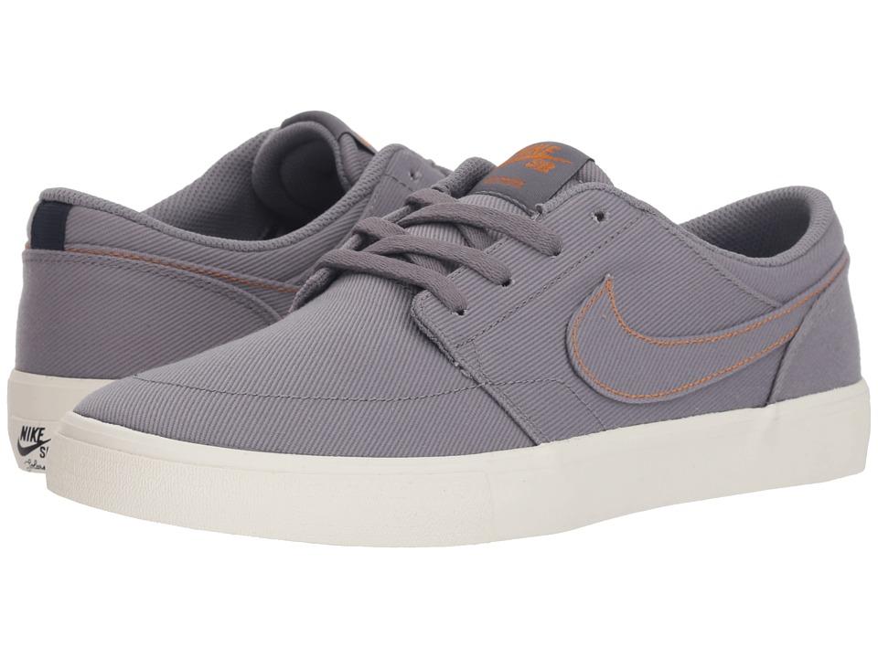 Nike SB Solarsoft Portmore II (Gunsmoke/Gunsmoke/Ivory/Geode Teal) Women's Skate Shoes