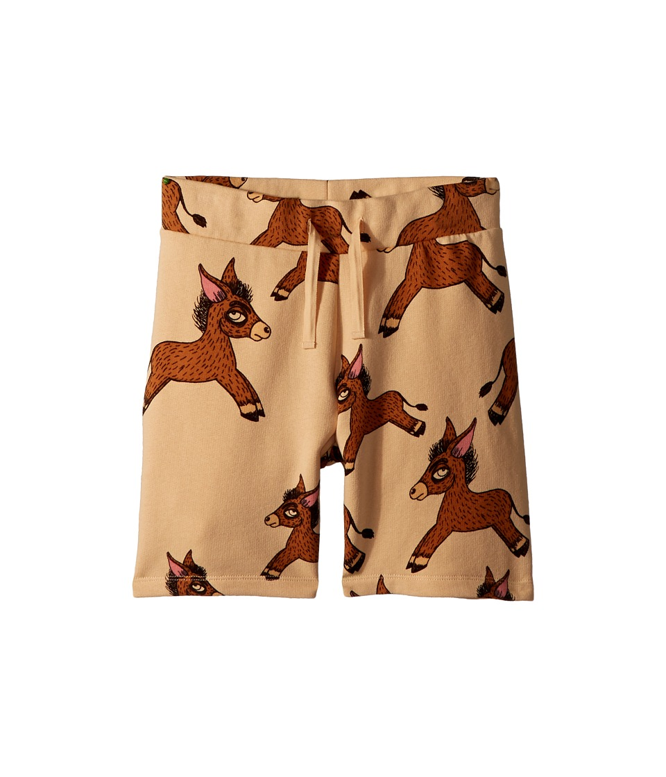 mini rodini - Donkey All Over Print Sweatshorts (Infant/Toddler/Little Kids/Big Kids) (Beige) Boys Shorts