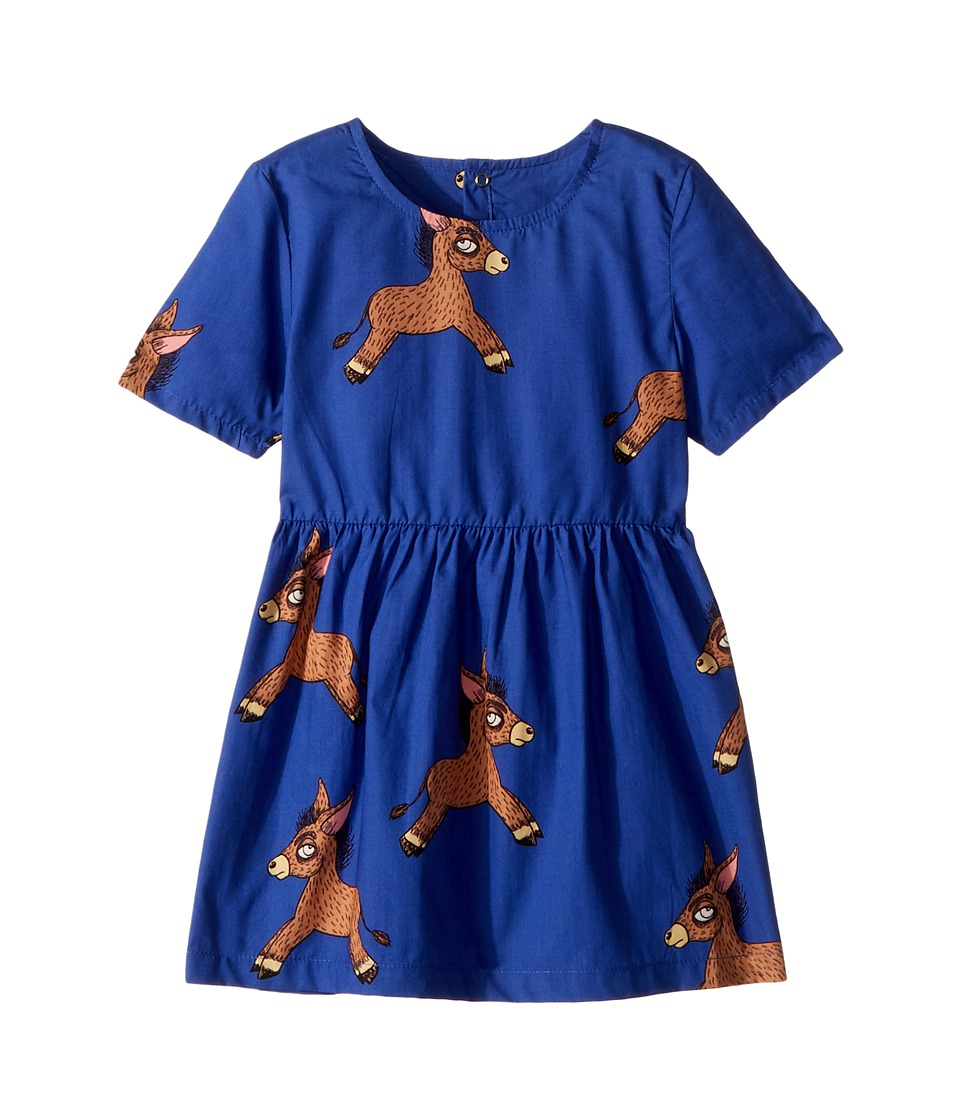 mini rodini - Donkey Woven Dress (Infant/Toddler/Little Kids/Big Kids) (Blue) Girls Dress