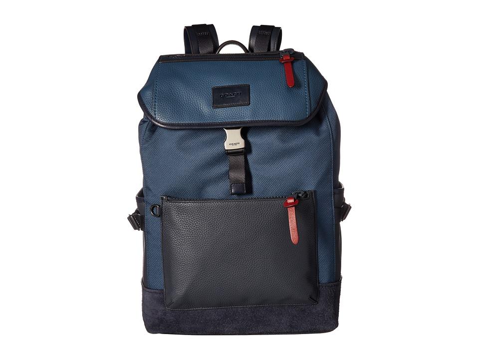 COACH - Manhattan Backpack in Varsity Sport (QB/Denim/Midnight Navy) Backpack Bags
