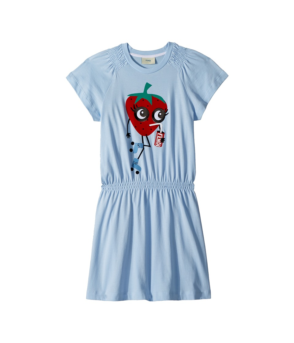 Fendi Kids - Ruffle Sleeve Dress w/ Strawberry On Front (Little Kids) (Blue) Girls Dress