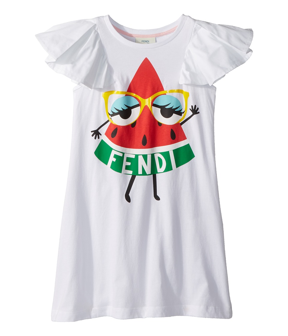 Fendi Kids - Ruffle Sleeve Dress w/ Watermelon On Front (Toddler) (White) Girls Dress