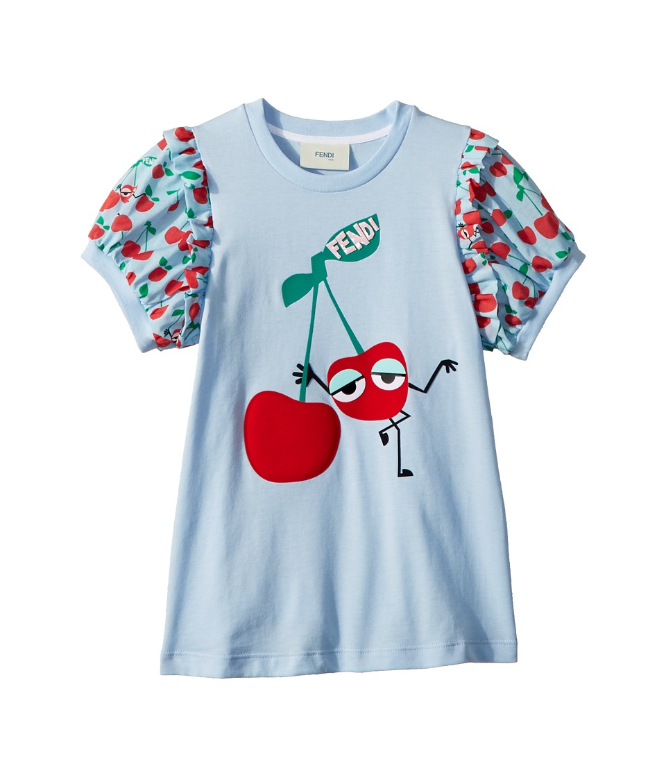 Fendi Kids - Cherry Graphic T-Shirt w/ Cherry Sleeves (Toddler) (Blue) Girls T Shirt