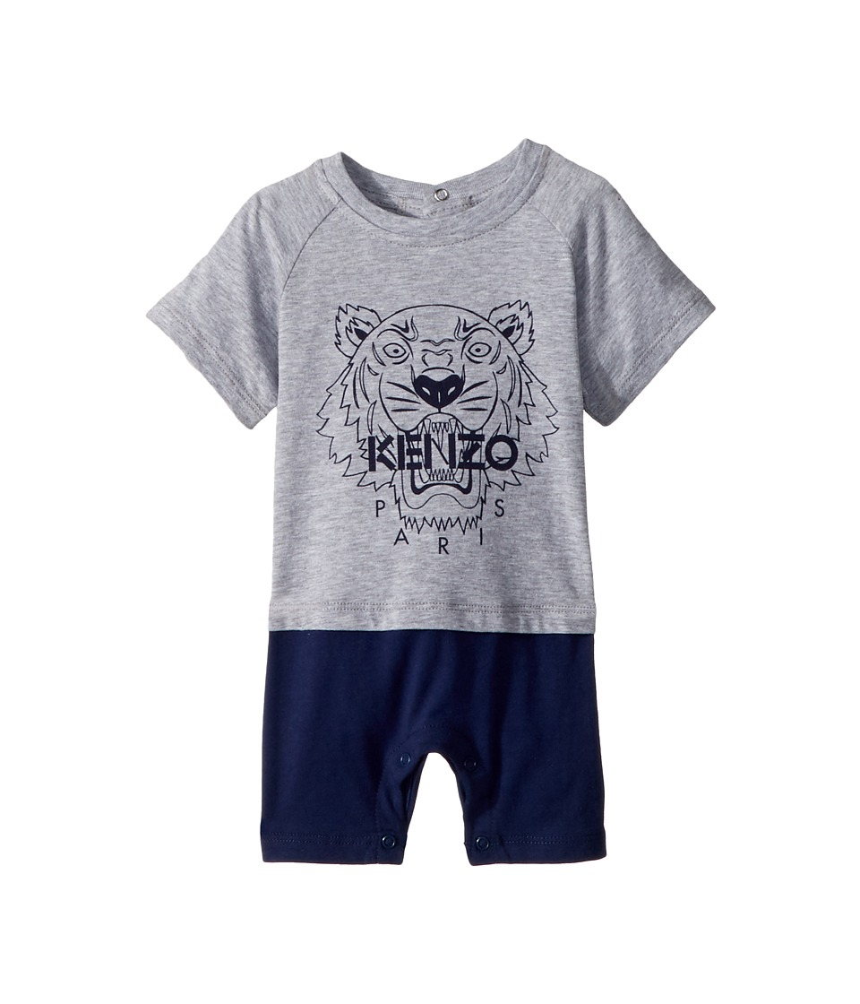 Kenzo Kids - Romper Classic Tiger (Infant) (Marl Grey) Boys Jumpsuit & Rompers One Piece