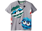 Fendi Kids Short Sleeve Logo Fur Monster Graphic T-Shirt (Toddler)