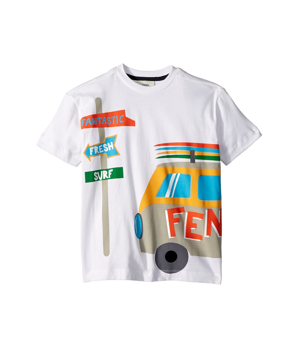 Fendi Kids - Short Sleeve Logo Surf Van Graphic T-Shirt (...