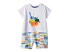 Fendi Kids Fendi Kids Short Sleeve Ice Cream Romper w/ Word Print Shorts (Infant)