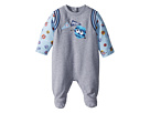 Fendi Kids Footie w/ Fur Monster Sleeves Graphic (Infant)