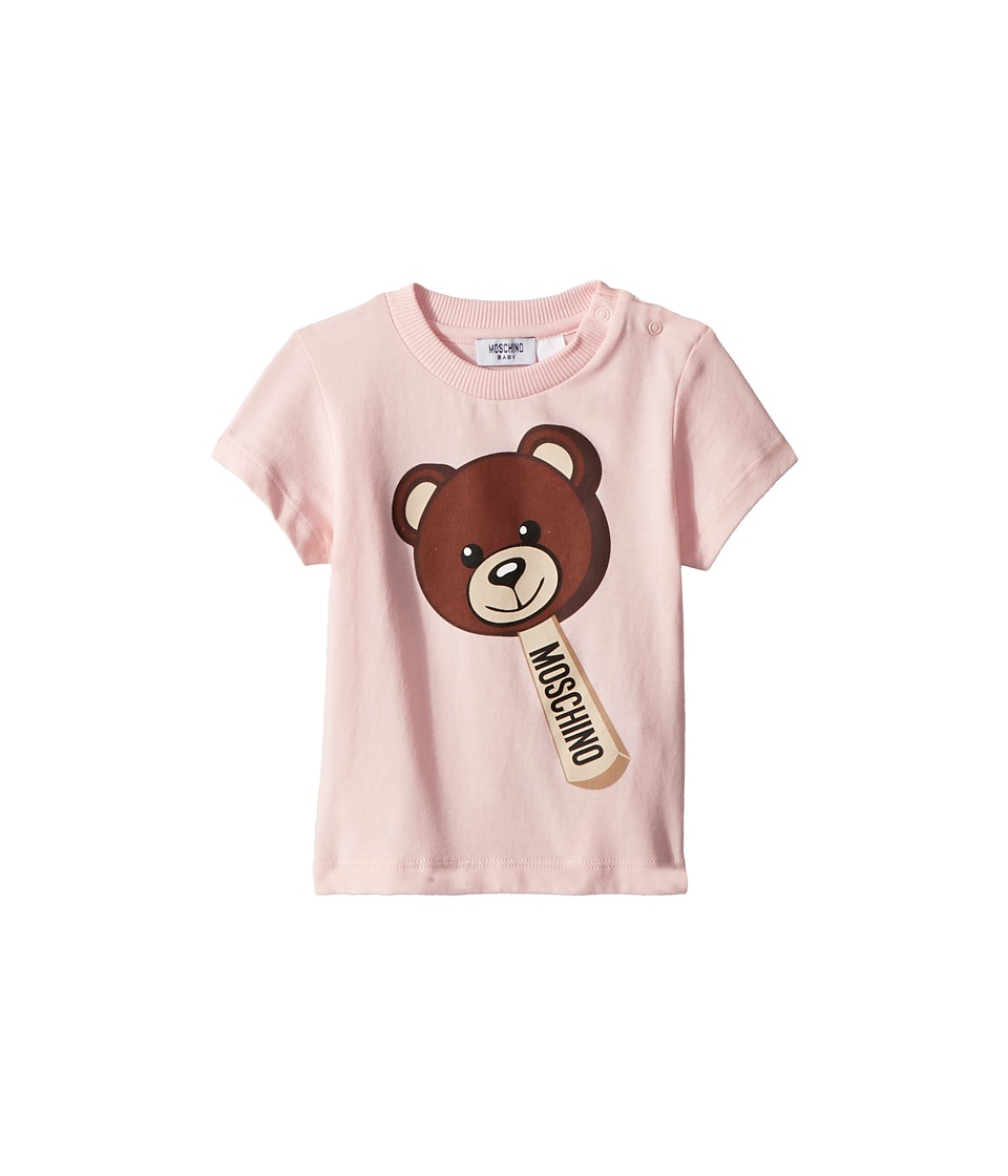 Moschino Kids - Short Sleeve Teddy Bear Ice Cream Graphic T-Shirt (Infant/Toddler) (Light Pink) Girls T Shirt