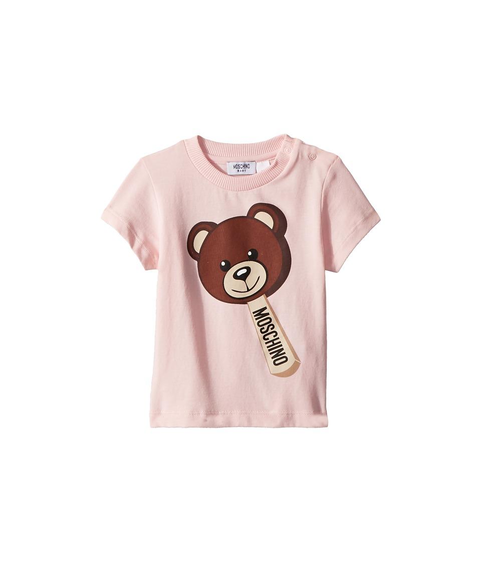 Moschino Kids - Short Sleeve Teddy Bear Ice Cream Graphic T-Shirt (Infant/Toddler) (Light Pink) Girls T Shirt