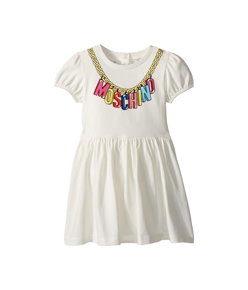 Moschino Kids - Logo Necklace Graphic Dress (Infant/Toddler) (Cloud) Girls Dress