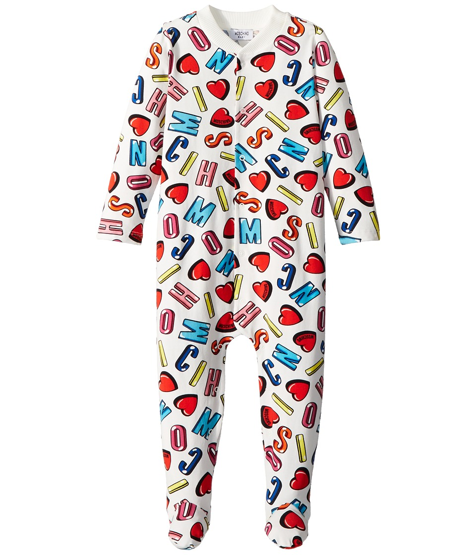 Moschino Kids - All Over Logo Heart Print Footie (Infant) (Multi) Girls Jumpsuit & Rompers One Piece