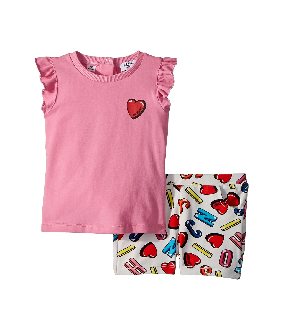 Moschino Kids - Logo Heart Graphic T-Shirt Shorts Set (Infant/Toddler) (Multi) Girls Suits Sets