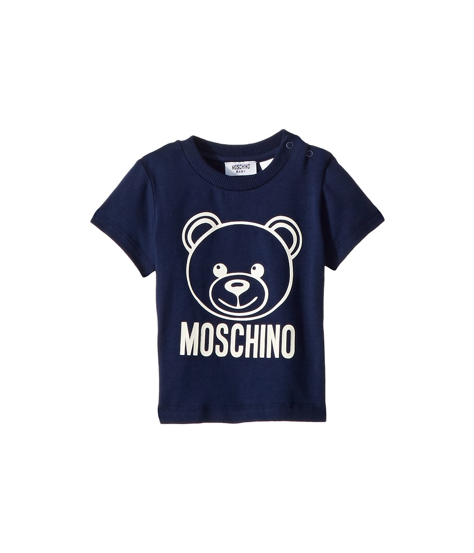 Moschino Kids - Short Sleeve Logo Teddy Bear T-Shirt (Infant/Toddler) (Navy) Boys T Shirt