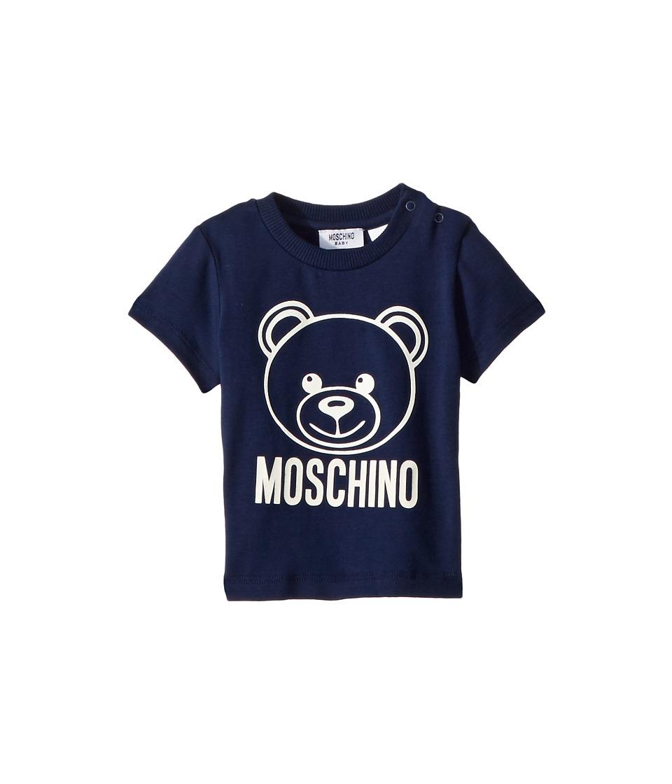 Moschino Kids - Short Sleeve Logo Teddy Bear T-Shirt (Infant/Toddler) (Navy) Boys T Shirt