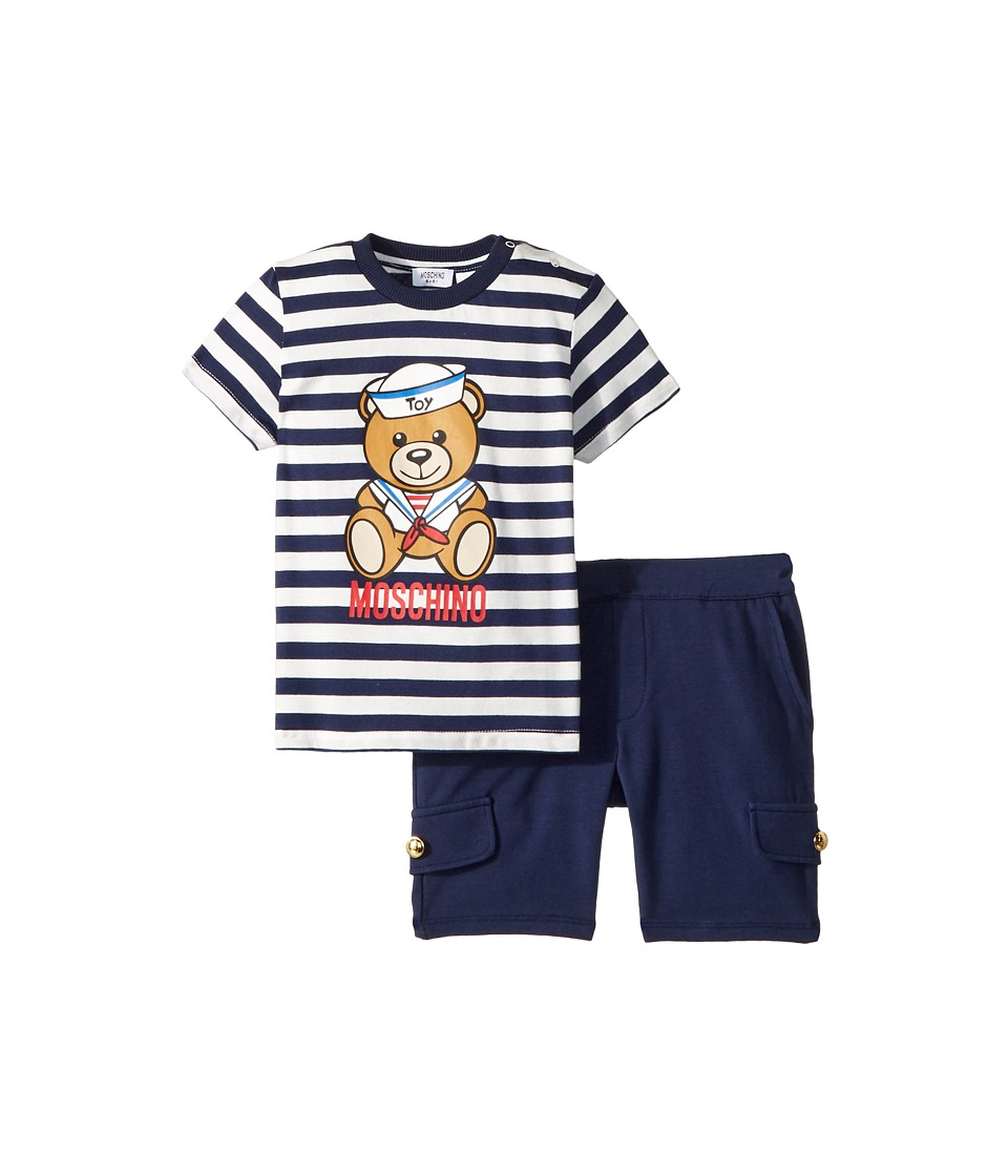 Moschino Kids - Nautical Teddy Bear T-Shirt Shorts Set (Infant/Toddler) (Riga Blue) Boys Suits Sets