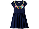 Moschino Kids Moschino Kids Short Sleeve Logo Necklace Graphic Dress (Little Kids/Big Kids)