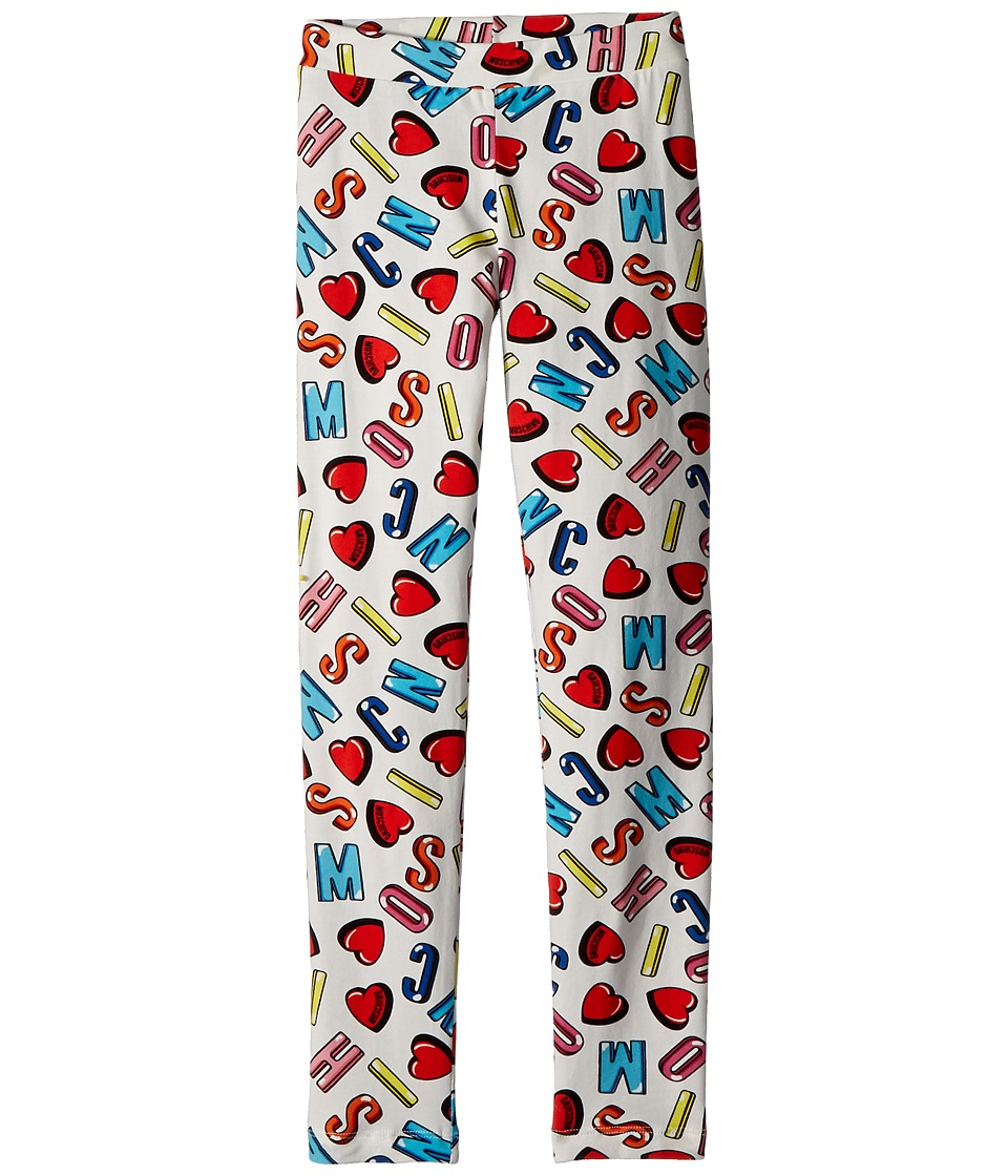 Moschino Kids - All Over Logo Heart Print Leggings (Little Kids/Big Kids) (Multi) Girls Casual Pants