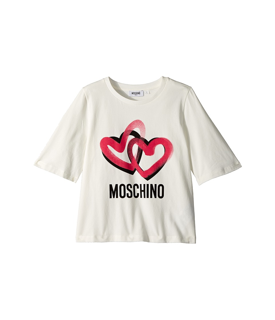 Moschino Kids - Logo Heart Graphic T-Shirt (Big Kids) (Cloud) Girls T Shirt