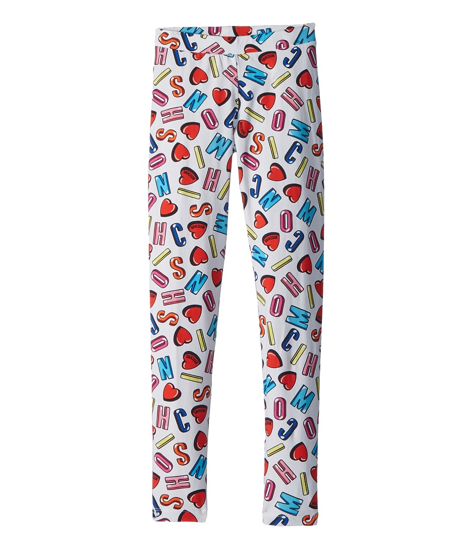 Moschino Kids - All Over Logo Heart Print Leggings (Big Kids) (Multi) Girls Casual Pants