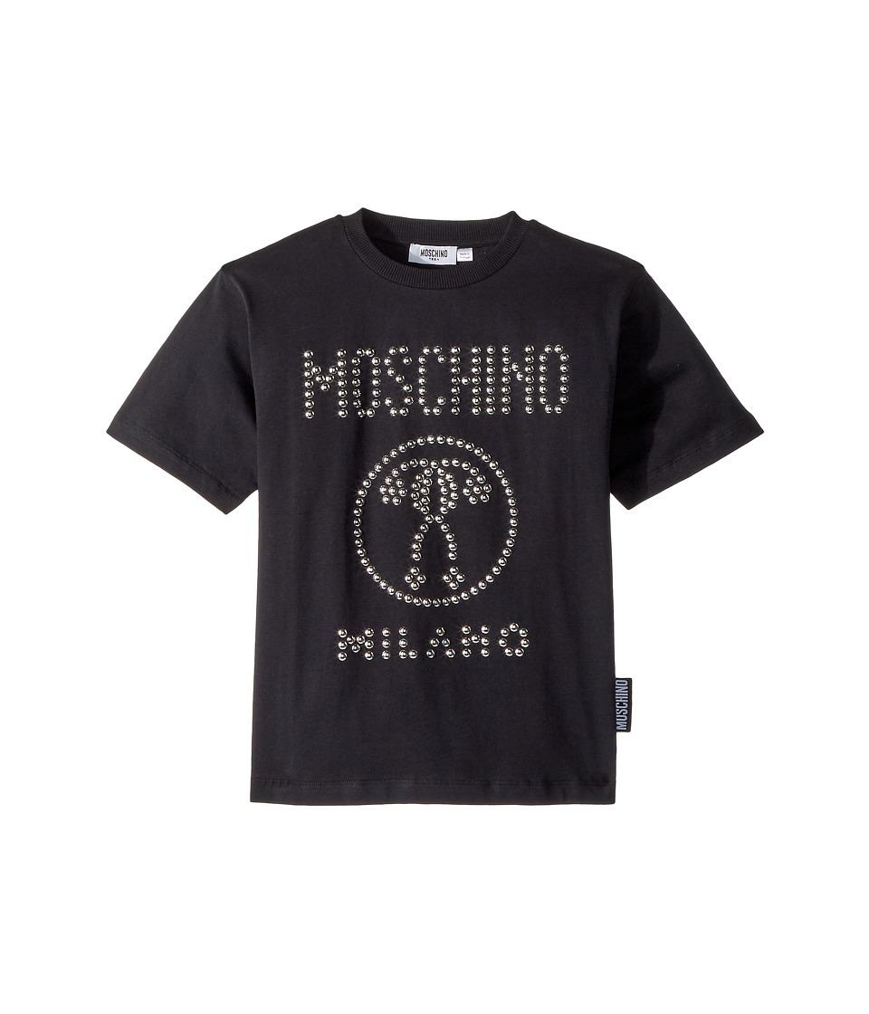 Moschino Kids - Short Sleeve Stud Logo T-Shirt (Big Kids) (Black) Boys T Shirt