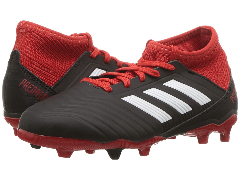 adidas Kids Predator 18.3 FG Soccer (Little Kid/Big Kid) (Black/White/Red) Kids Shoes