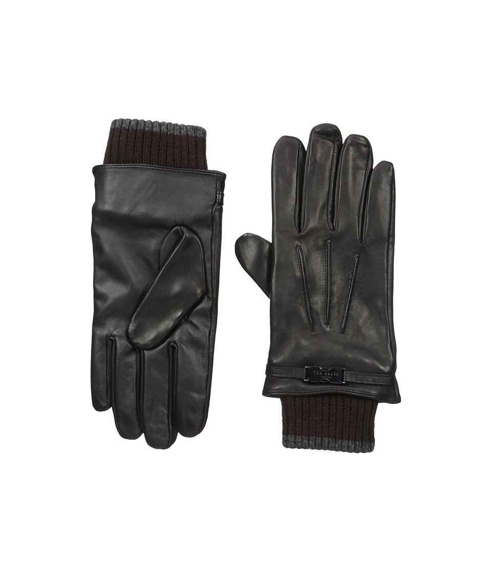 Ted Baker Quiff Ribbed Cuff Leather Gloves (Black) Dress Gloves