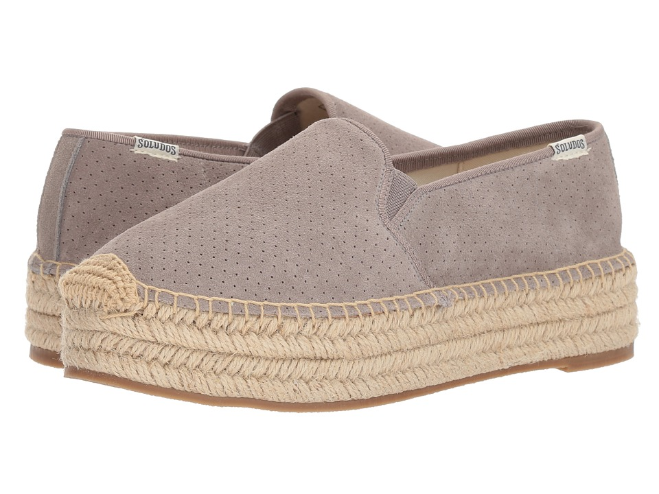 Soludos Malibu Platform Espadrille (Gray) Slip-On Shoes