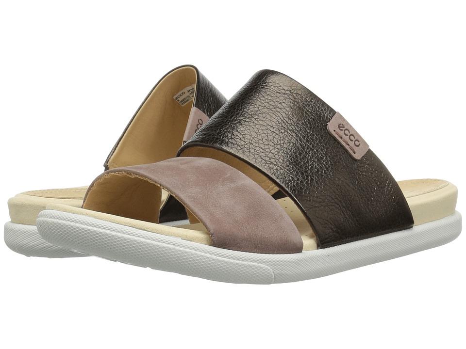 ECCO Damara Slide Sandal II (Licorice/Deep Taupe Cow Leather/Nubuck) Sandals