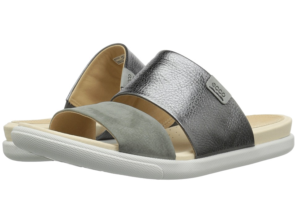 ECCO Damara Slide Sandal II (Dark Shadow/Moon Cow Leather/Nubuck) Sandals