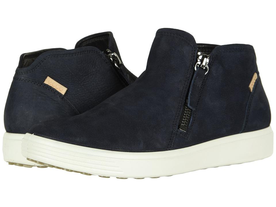 ECCO Soft 7 Low Cut Zip Bootie (Night Sky Cow Nubuck) Women's Shoes
