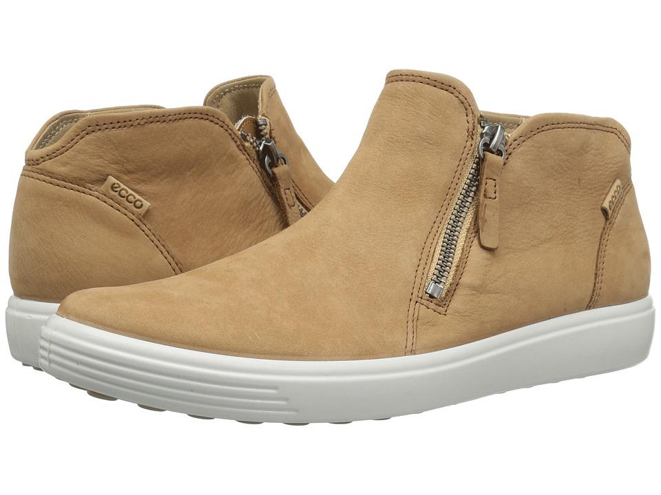 ECCO Soft 7 Low Cut Zip Bootie (Cashmere Cow Nubuck) Women's Shoes