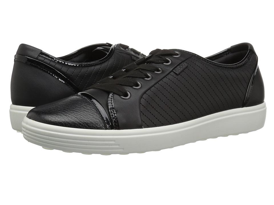 ECCO Soft 7 Cap Toe (Black/Black Cow Leather) Women's Shoes
