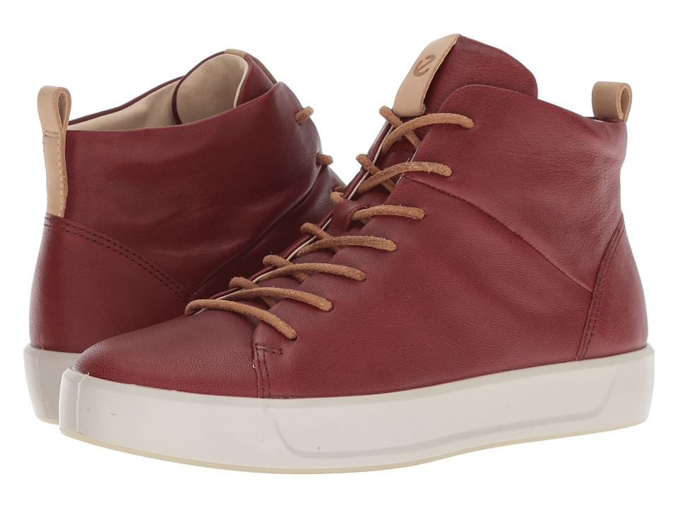 ECCO Soft 8 High Top II (Fire Brick Camel Leather) Women's Shoes