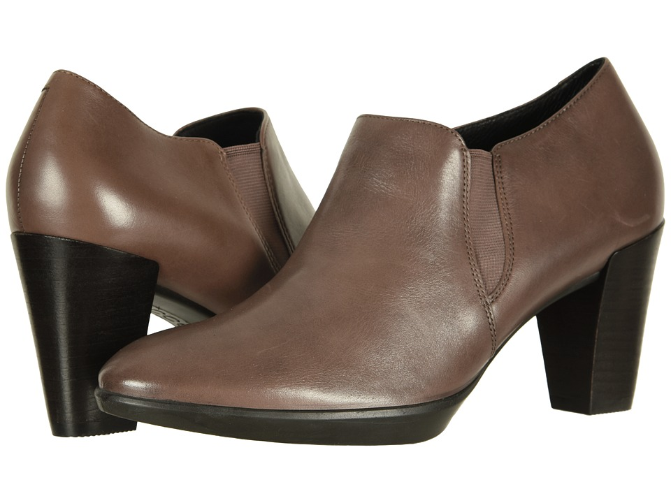 ECCO Shape 55 Plateau Stack Shootie (Deep Taupe Calf Leather) High Heels