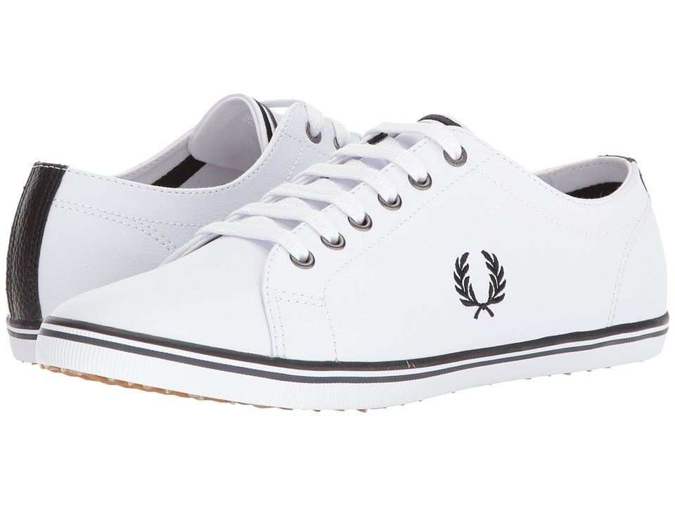Fred Perry - Kingston Leather (White/Black/Charcoal) Mens Lace up casual Shoes