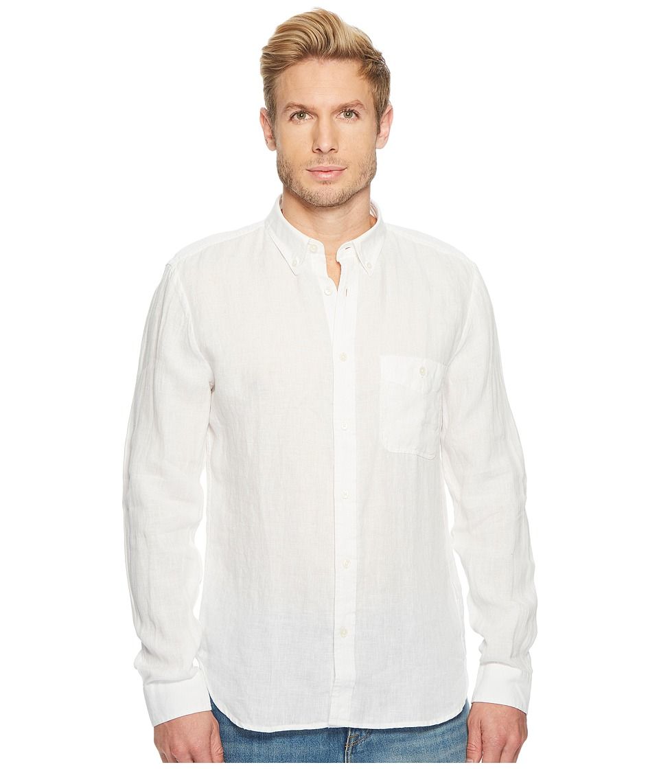 7 For All Mankind - Linen Oxford Shirt (Cloud White) Mens T Shirt